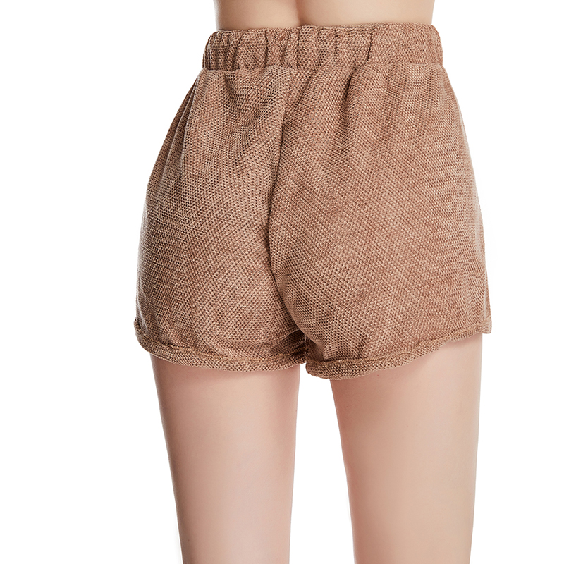 Brown Hot Women'S Casual Shorts Elastic Waist Ladies Shorts Sexy Tied Bandwidth Loose Folding Design Casual Shorts Plus Size