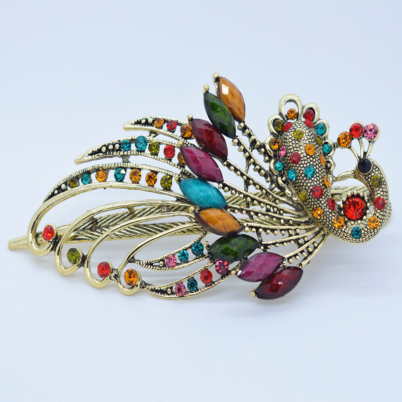 Elegant Lady Retro Large Clip Hair Accessories Animal Pattern Peacock Rhinestone Headdress Women's Hair Accessories Jewelry Clip