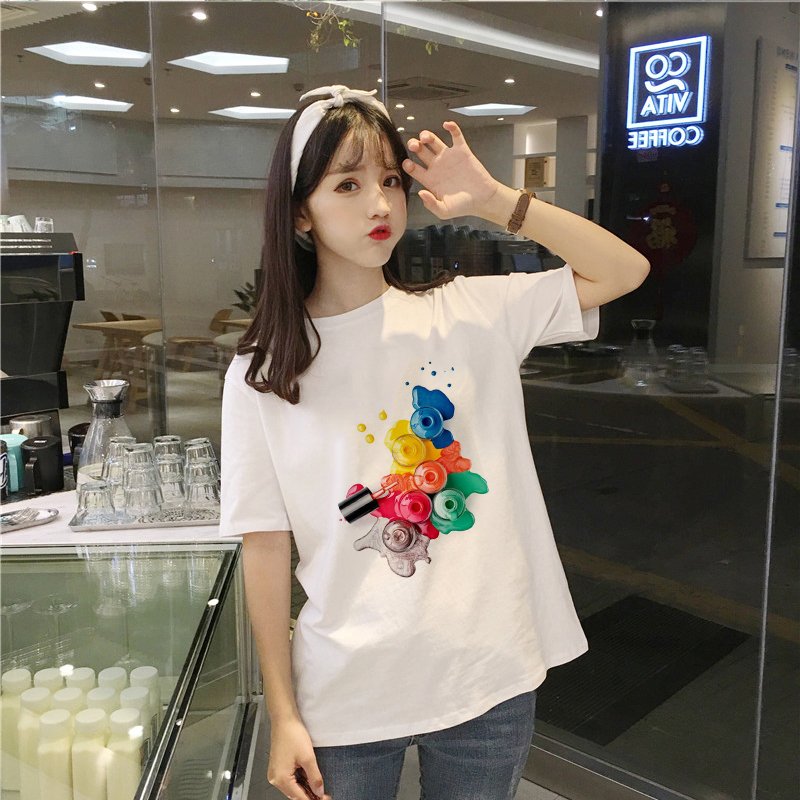 Showtly Harajuku T Shirt Women Nail Polish T-shirt Woman Korea Short Sleeves Casual Female Fashion T Shirts Plus Size Tops Tees