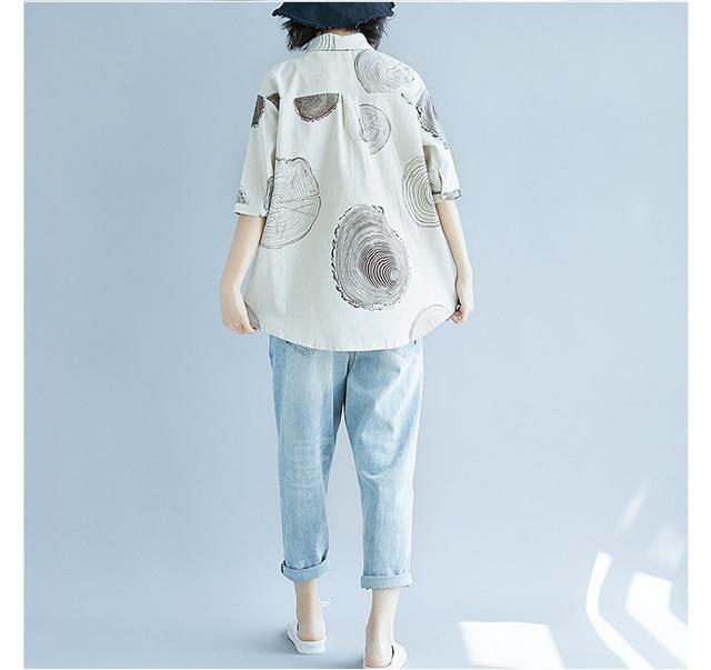 Women Plus Size Shirt Ladies Casual Printed Loose Blouse Tops Female 2019 Summer Shirt 6