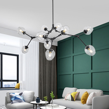 נורדי תליון אור מנורה מודרני 4 צבעים זכוכית אהיל זהב שחור גוף מסירת מנורת אמנות קישוט אור עבור תעשייתי
