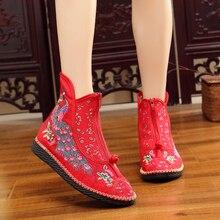 Casual bordado Vintage Floral Flats Zapatos mujeres Harajuku señoras tela De algodón moda Zapatos Mujer mocasines Zapatos De Mujer Zip