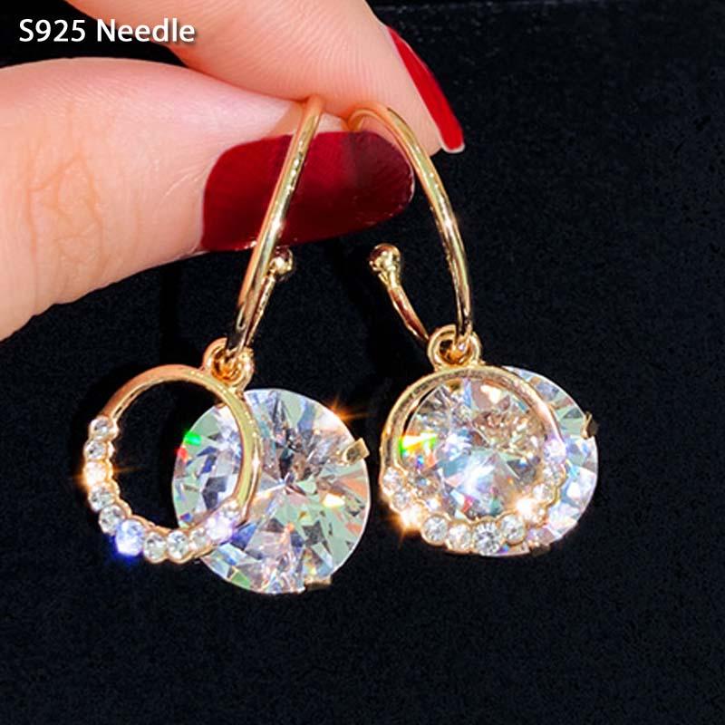 Real 925 Sterling Silver Needle Dangle Drop Earrings for Women Jewelry Gold Bling Star Rhinestone Tassel Female Earrings