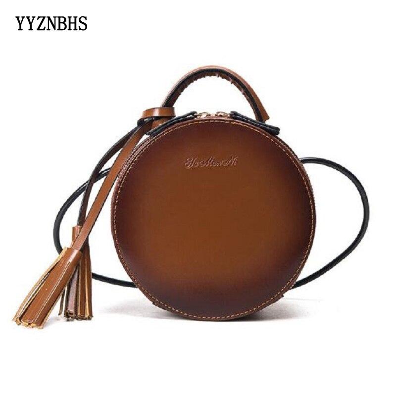 Crossbody Bags For Women PU Leather Female Messenger Bags Small Lady Circular Bag With Tassel Mini Round Girl Handbag Sac A Main