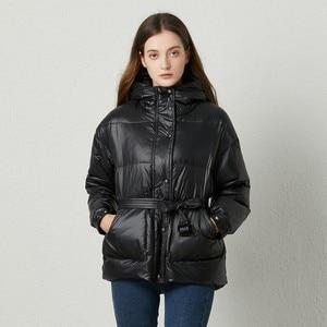 Image 1 - Fitaylor冬超軽量女性ダウンジャケットウォームホワイトダックダウンフード付きパーカー女性シングルブレスト雪上着とベルト