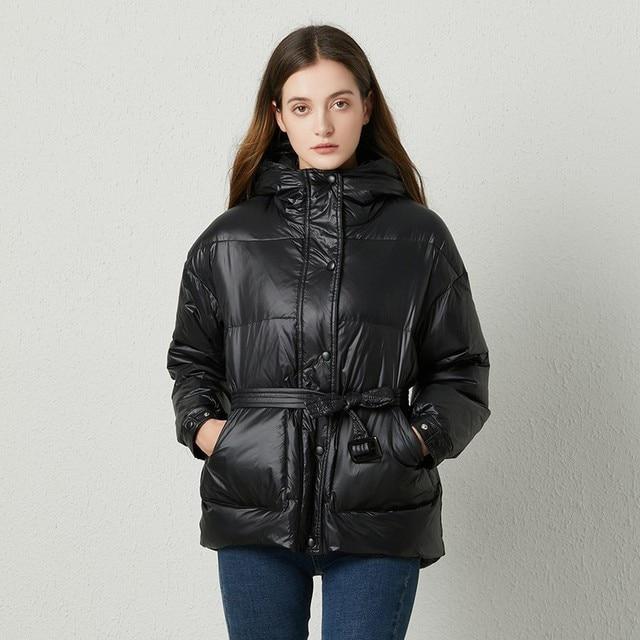 Fitaylor冬超軽量女性ダウンジャケットウォームホワイトダックダウンフード付きパーカー女性シングルブレスト雪上着とベルト
