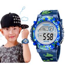 Granatowy niebieski kamuflaż dla dzieci zegarki dla dzieci LED kolorowe Flash cyfrowy wodoodporny zegar dla chłopców dziewcząt data tydzień kreatywny zegarek dla dzieci tanie tanio coobos Sport RUBBER 3Bar Klamra 20cm CB1015 ROUND Hardlex 14mm Nie pakiet 20mm 37 5mm Stoper Podświetlenie Odporny na wstrząsy