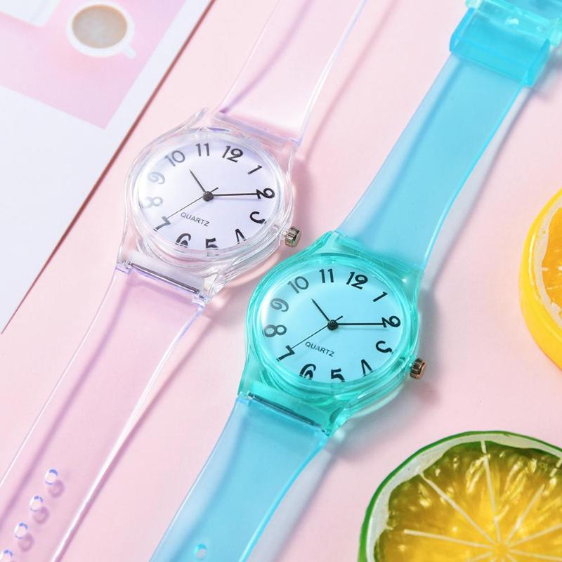 Kids Watches Lovely Cute Pure Color Silicone Rubber Strap Analog Quartz Watch Boys Girls Round Dial Analog Kids Wristwatch