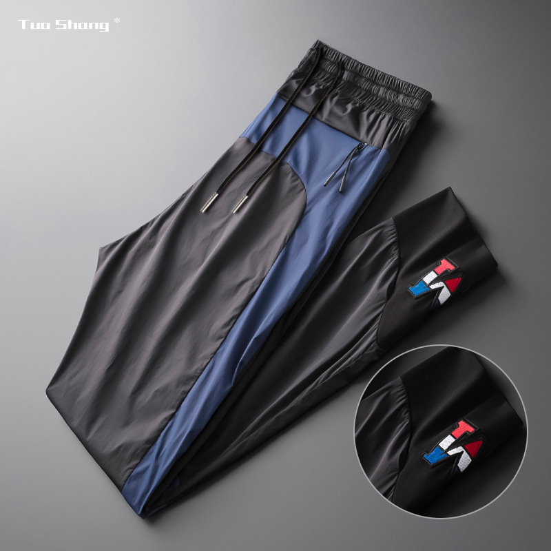 2020 Spliced Jogger Pants Men Spring New Thin Drawstring Sports Pants Fashion Side Stripe Designer Joggers Pantalones Hombre 4XL
