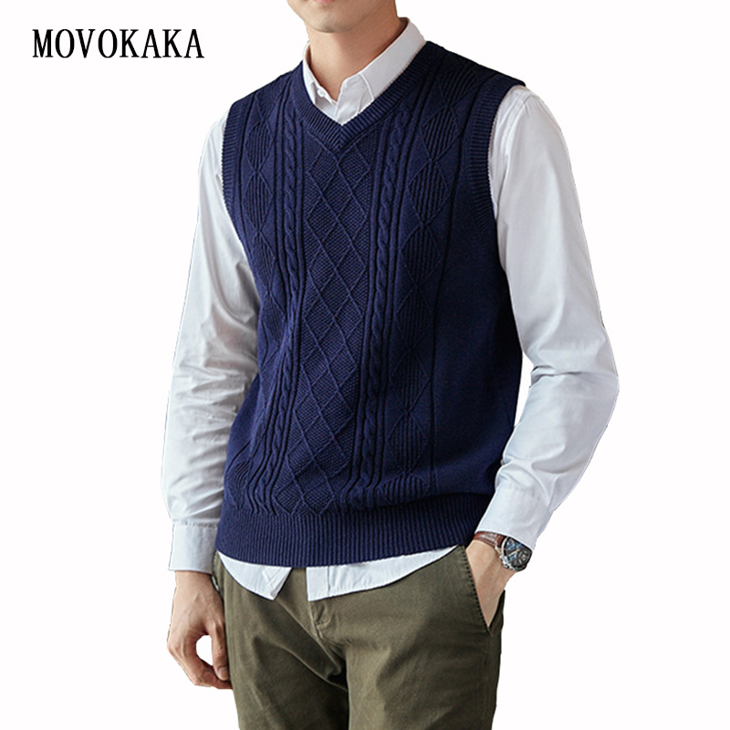 Fashion Brand Clothing Pullover Sweater Men Autumn V-Neck Slim Vest Sweaters Sleeveless Warm Knitted Sweater Cotton Casual M-3xl