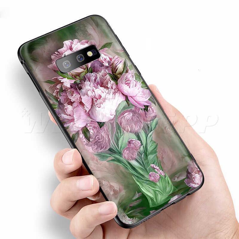 Webbedepp ピンクの花牡丹花瓶ケース三星銀河 S7 S8 S9 S10 プラスエッジ注 10 8 9 A10 a20 A30 A40 A50 A60 A70