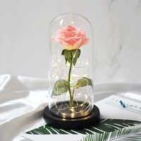 Дропшиппинг Красавица и Чудовище красная роза в стеклянном Куполе С светодиодный светильник деревянная основа для подарка на День Матери С...