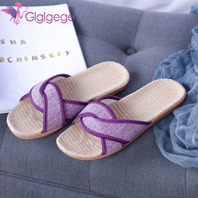 New Glglgege New  women shoes Summer Slippers Hemp Rope Flat Cross-tied Slippers Open Toe Indoor Shoes Feminina chaussures femme