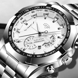 Men's Large Dial Watch Non Mechanical Luminous Waterproof Calendar Watch Fashion Trend Multi Function Stainless Quartz Watch