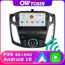 PX6 4G + 64G אנדרואיד 10.0 רדיו ניווט GPS DVD לרכב מולטימדיה נגן לפורד פוקוס 3 2015 2018 DSP DAB אוטומטי סטריאו Carplay