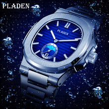 PLADEN Diving Chronograph Wristwatch Mens Waterproof Quartz Clock Male Stainless Steel Luxury Brand Men Watch Relogio Masculino