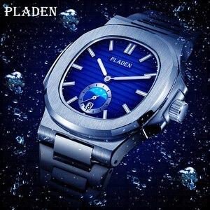 PLADEN nurkowanie zegarek na rękę mężczyzna wodoodporny zegar kwarcowy mężczyzna ze stali nierdzewnej luksusowej marki mężczyzn zegarek Relogio Masculino