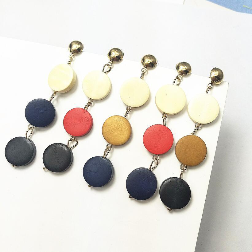 Fashion New European And American Pendientes  Popular Three Circle Pendant Earrings Creative Wooden Long Earrings For Woman Hot