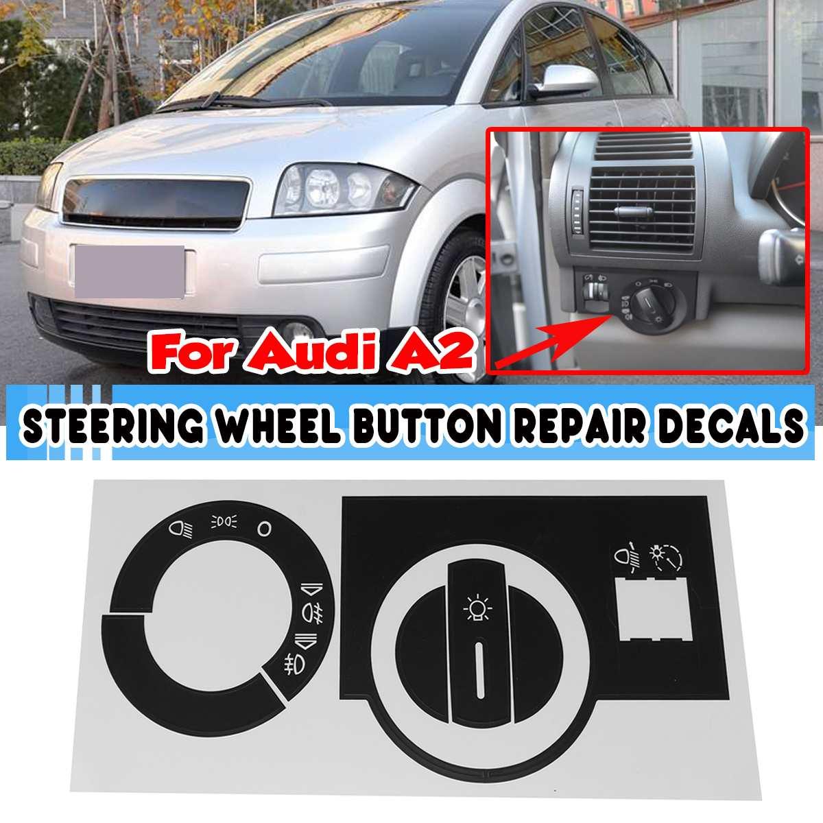 Черная наклейка на переключатель передней фары автомобиля, наклейки для ремонта Audi A2, наклейка для ремонта, уродливая кнопка, наклейка для а...