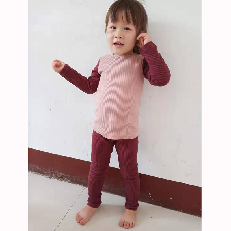 HITOMAGIC New Arrival 2019 Girls Clothes For Boys Children Ribbed Set With Full Sleeve Kids Fitted Soft Autumn Winter Cloth