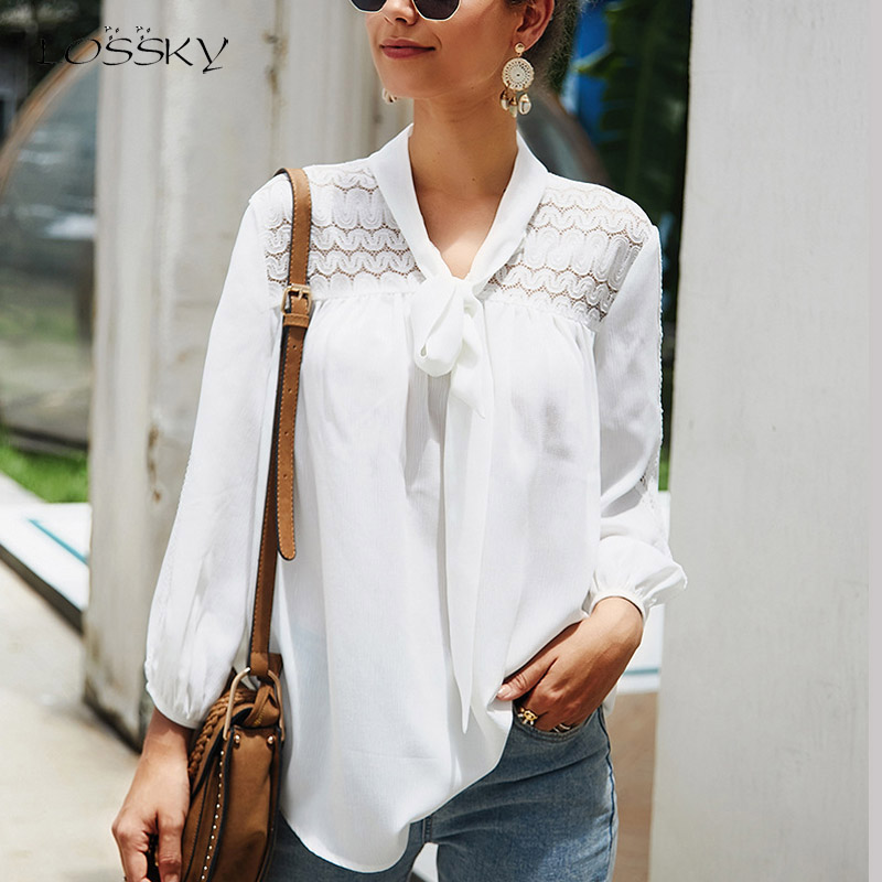Lossky Shirt Women Chiffon Long Sleeve Hollow Out V Neck With Bow White Tunics Tops Female Office Lady Clothing Blouse Work Wear