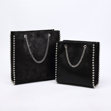 Retro Large Capacity Tote Bag Women Fashion Chain Rivet Shoulder Bags Lady Commuting Pu Leather Purses Solid Color Bead