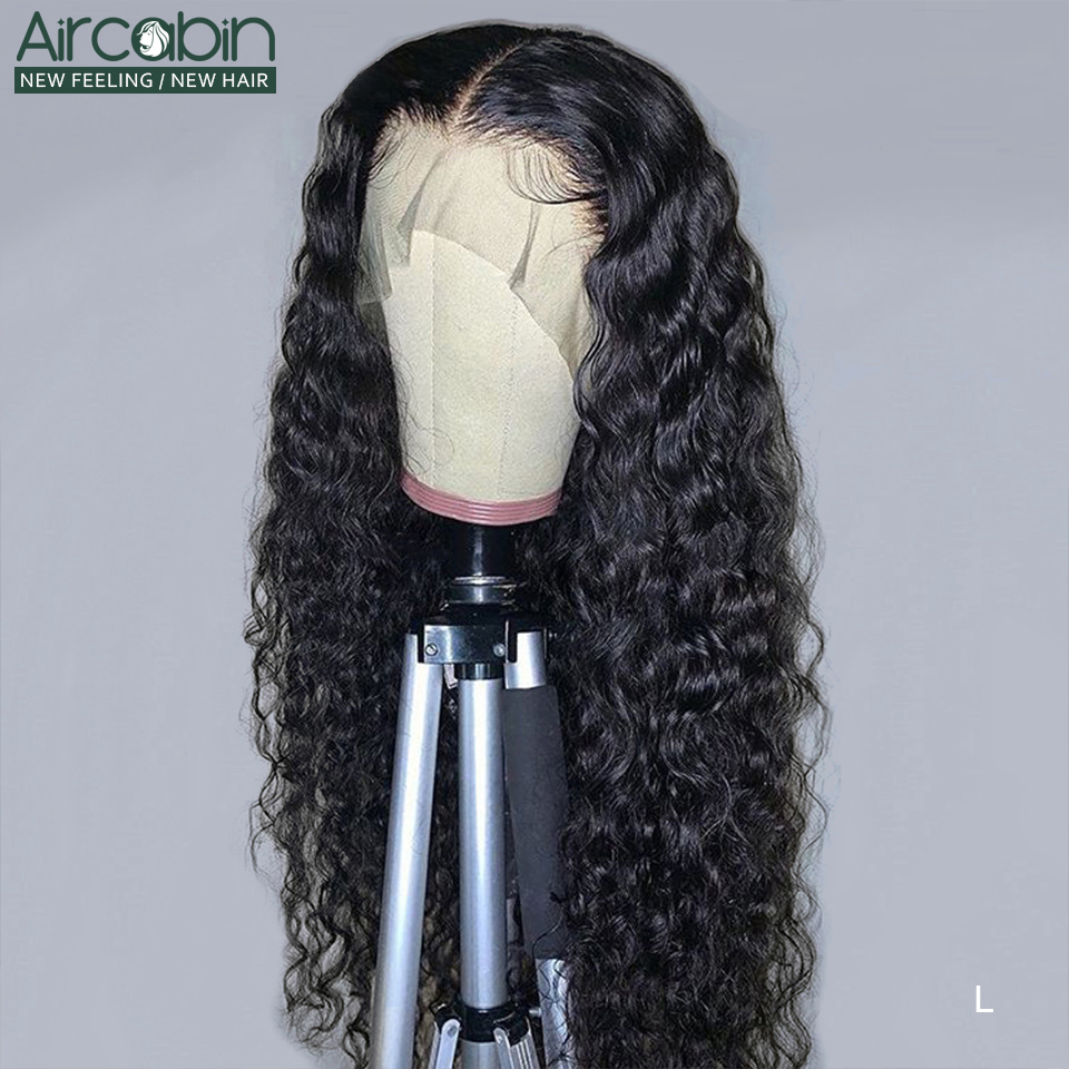 Aircabin 13x4 Lace Front Human Hair Wigs Water Wave Wig Brazilian Human Hair Glueless Wigs For Black Women Non-Remy Hair Wigs