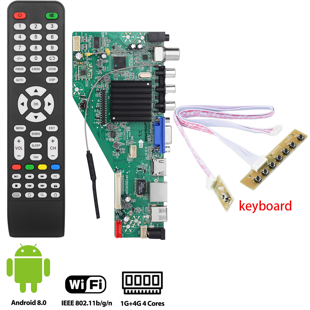MSD358V5.0 Smart TV Driver Board For Android 1G+4G Wireless Network WI-FI LCD Motherboard Lvds RJ45/HDMI/ VGA/AV/TV/USB+keyboard