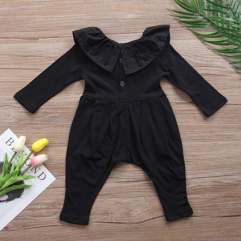 New Newborn Girl   Rompers   Clothes Autumn Ruffle Floral Baby   Rompers   For Girl Black Infant Jumpsuit Toddler Girl Outsuit Spring