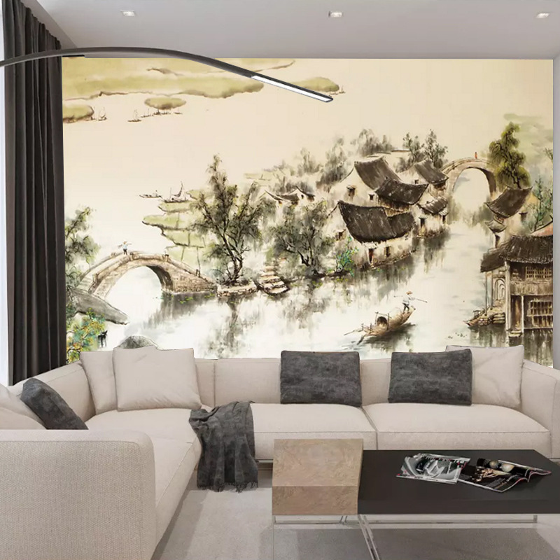 Jiangnan Large Mural Chinese Style Ink Decoration 3D Wallpaper Living Room Lobby Sofa TV Background Wallpaper