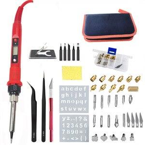 Image 1 - 60W/80W Elektrische Lötkolben Carving Brandmalerei Werkzeug Holz Brennen Präge Löten Stift Set Temperatur Einstellbar