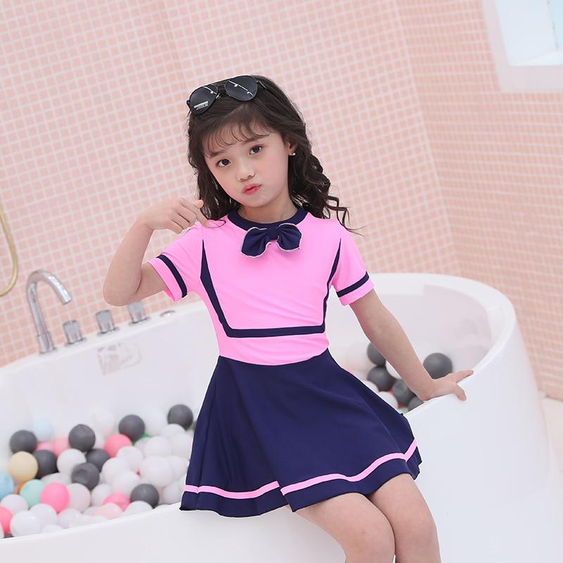 KID'S Swimwear Girls Cute Skirt One-piece Belly Covering Big Boy Swimwear Send CAP Beach Tour Bathing Suit