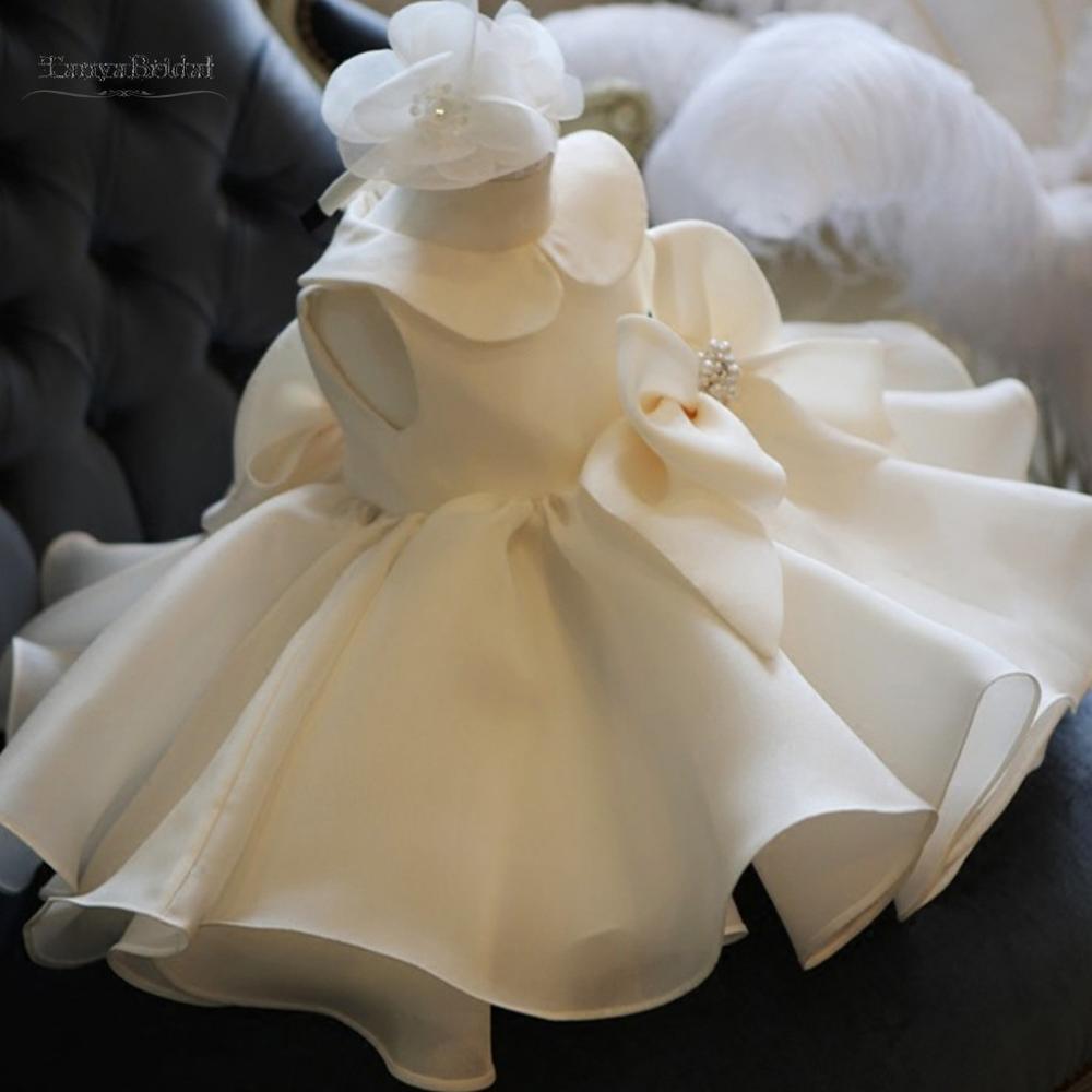 Robes de fille de fleur o-cou robe de bal grand arc petites robes de reconstitution historique filles première Communion robes pas cher XF016
