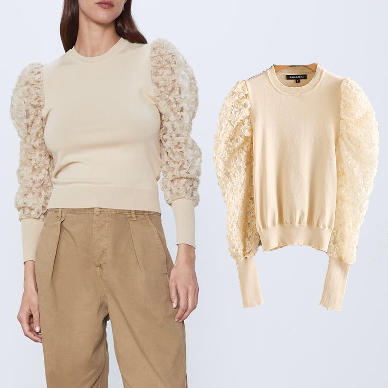 Za Women Sweater Autumn 2020 Pull Femme Casual Jumper O Neck  Lace Sleeve Sweater Female Slim Pullover Knitted Sweater Oversize