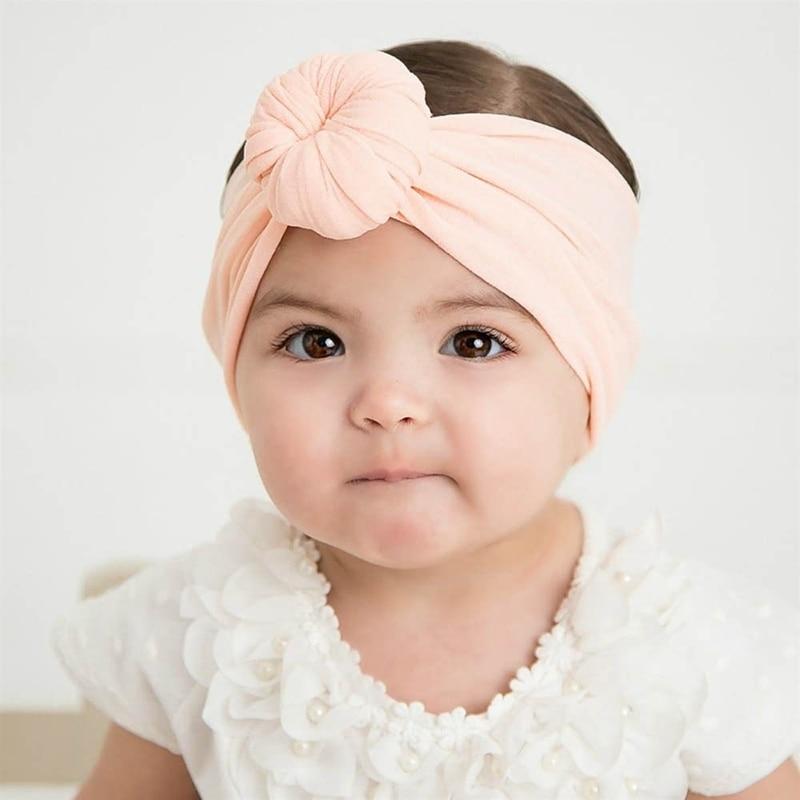 2pcs /lots European and American fashion infant Super Soft Round ball Nylon hair band child Head Accessories X-3