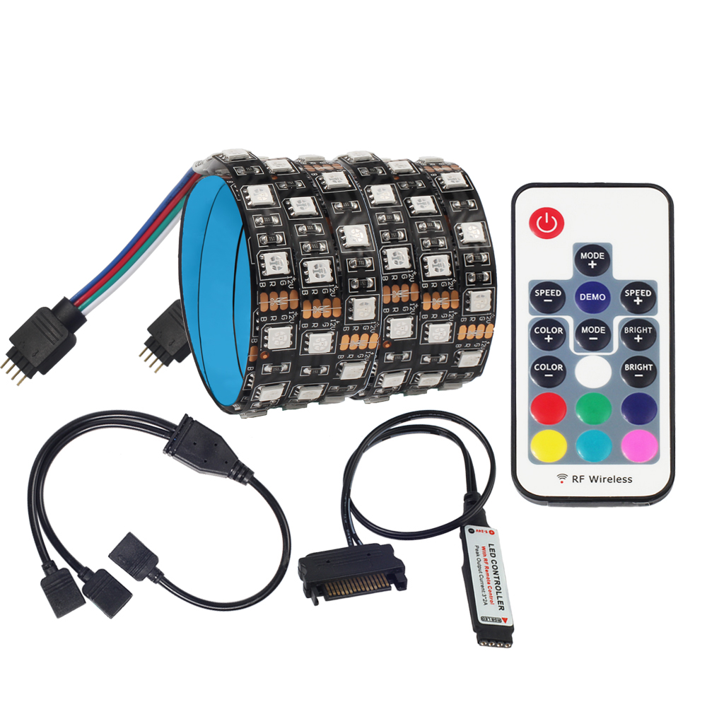 SATA LED Strip Light 5050 RGB DC12V Sata Power Supply Interface For PC Computer Case,17Key RF Remote Control LED Strip Light