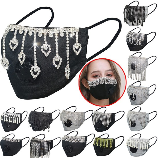 Fashion Tassel Glitter Diamond Face Mask Breathable Cotton Mouth Mask Dustproof Mascarillas Masque Lavable With Breathing Valve 1