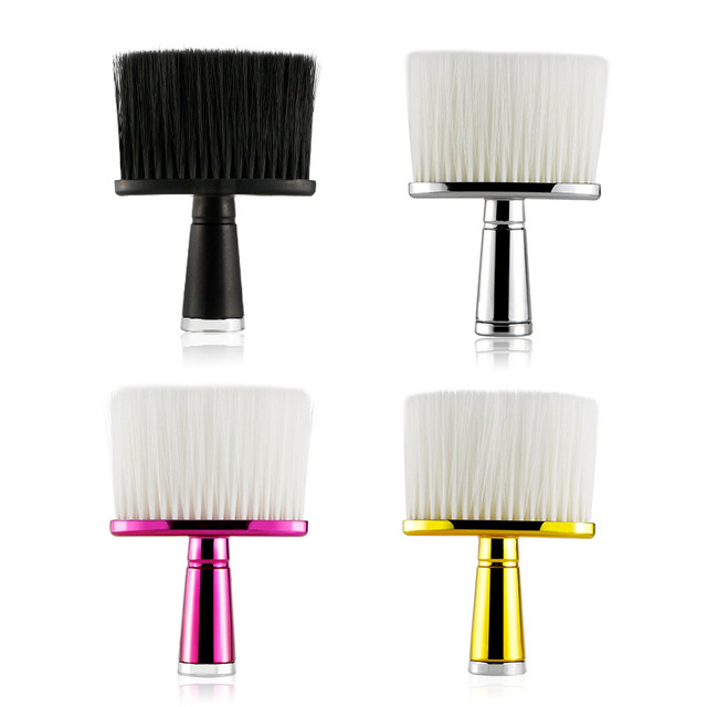 4 Color Electroplated Handle Neck Sweeper for Haircut and Broken Hair Sweeper Hairdressing Tools for Hair Salons