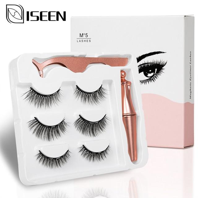 Pestañas postizas magnéticas 3D, 3 pares, delineador de ojos, pestañas postizas de visón, juego de pinzas líquidas impermeables, maquillaje de pestañas de larga duración