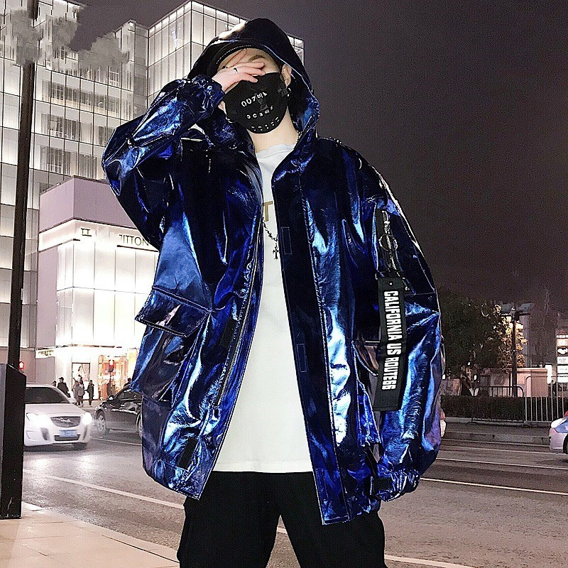 Harajuku Mens casual Loose Fit Giacca Con Cappuccio Streetwear Hip Hop Tuta Sportiva del Cappotto Uomo Stage Show Argento Dorato Stampato Baggy Giacca - 3