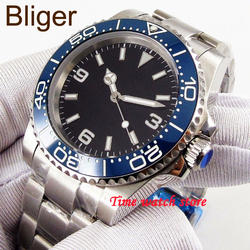 Bliger 40mm Miyota 8215 automatyczny zegarek mężczyźni wodoodporna stal nierdzewna czarna tarcza szafirowe szkło niebieska ceramiczna ramka szkiełka zegarka 207 w Zegarki mechaniczne od Zegarki na