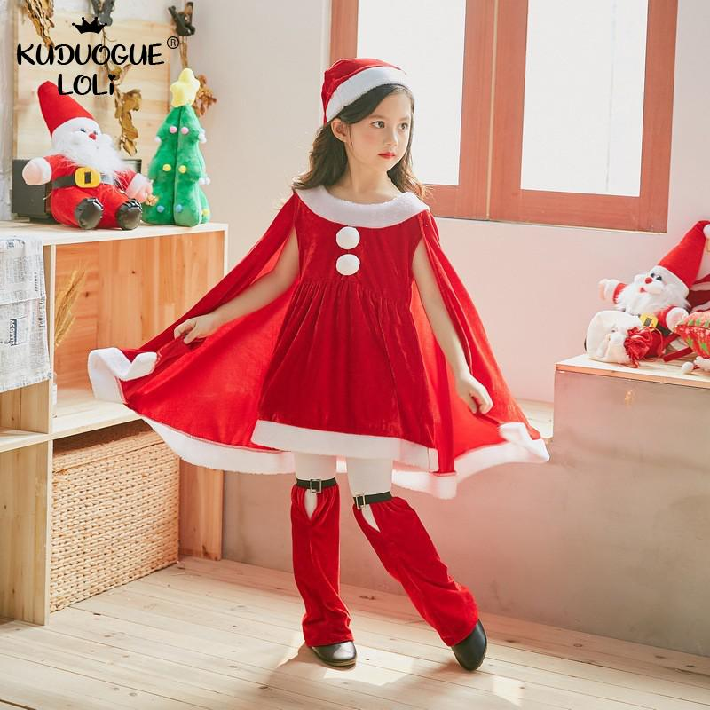 Christmas Costume Baby Girl Children Santa Claus Dress Up Clothing Kindergarten Performance Holiday Clothes Shawl Cloak Hat Pant