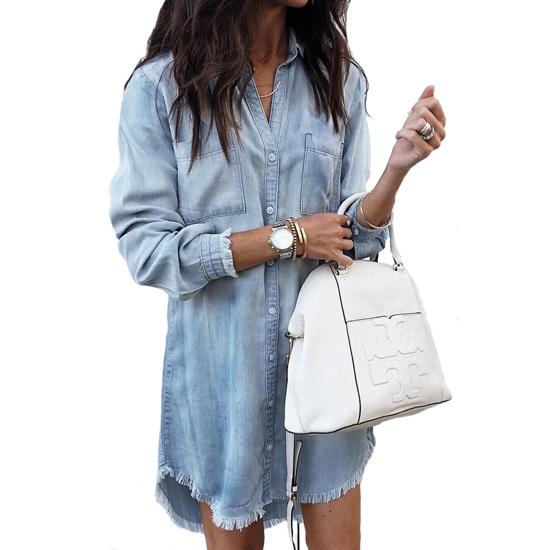 Women Casual Denim Shirt Dress Ladies Turn Down Collar Long Sleeve Office Lady Dress 2019 New Fashion Women Solid Sexy Mini Dres