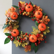 2019 New Artificial Pumpkin Maple Leaves Halloween Decorations Wreath Garland Thanksgiving Autumn Holiday Front Door Decor