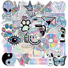 50PCS Holographic Stickers Gift Toys For Kids Girl Pretty Graffiti Decal Sticker To DIY Stationery Guitar Phone Notebooks Laptop