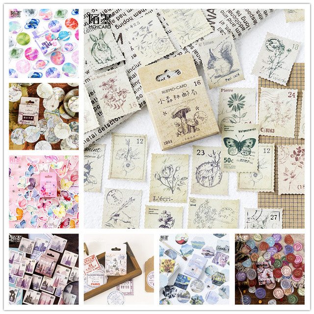 (42 Styles can Choose) Vintage Travel Boxed Stickers DIY Scrapbooking Paper Diary Planner Wedding Album Sealing Decoration @TZ 2