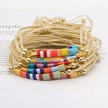 Go2boho miyuki pulseira para menina japonês tila grânulo pulsera jóias arco-íris simples pulseiras feminino 2021 boho verão