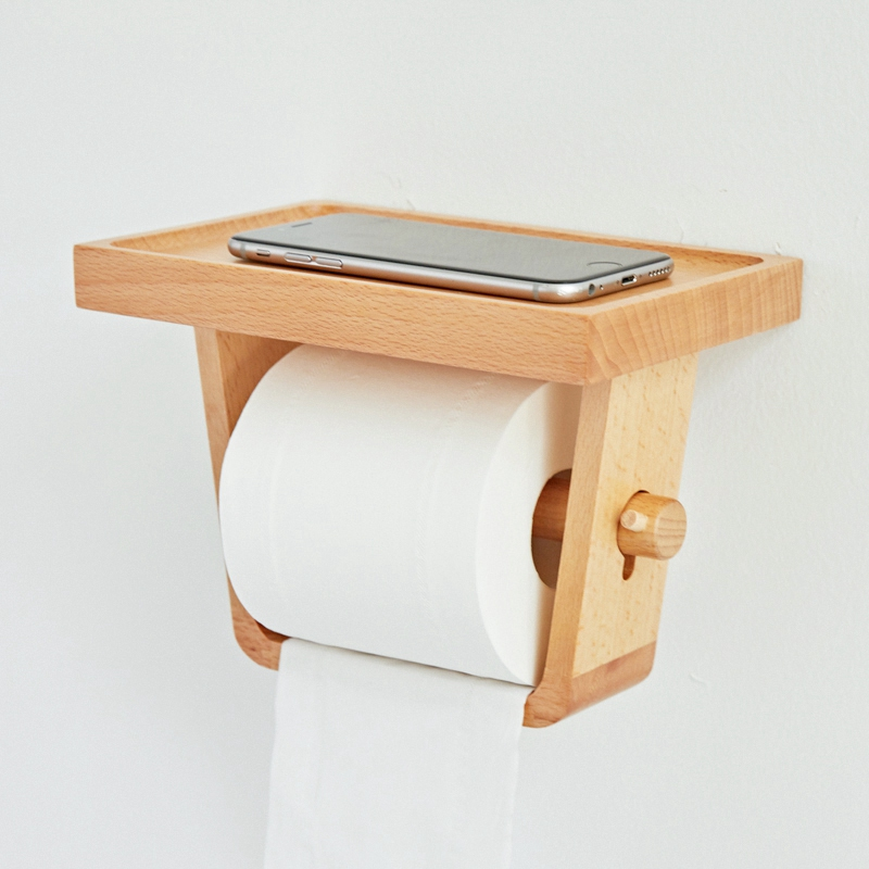 Bathroom Toilet Paper Holder Household Toilet Tissue Box Paper Tube Wooden Simple Toilet Roll Holder
