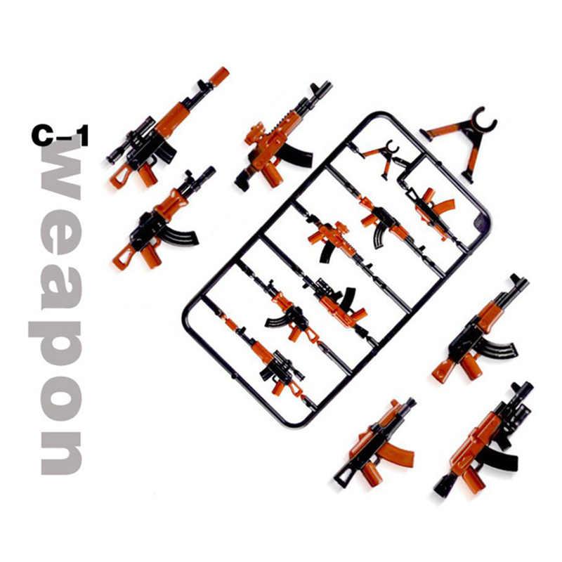 100 pçs mini militar cidade arma armas pacote blocos de construção do exército compatível legoing arma série tijolos brinquedos para crianças