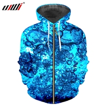 UJWI 지퍼 후드 남자 새로운 성격 3D 인쇄 물방울 바다 세트 다채로운 큰 크기 남여 지퍼 후드 티 스웨터